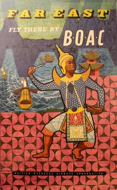Far East by BOAC, 1959 - original vintage poster by G J Galsworthy listed on AntikBar.co.uk