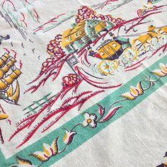 Vintage Tablecloth and 4 Napkins - Harvest Scenes