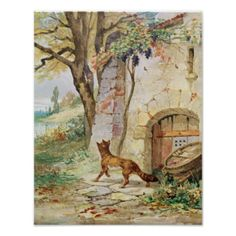 The Fox and the Grapes, illustration for 'Fables' by Jean de La Fontaine | by Jules David | Art Location: Bibliotheque Nationale, Paris, France | French Artist | Image Collection Number: XIR259643 #jules #david #19th #fable #moral #tale #tales #animal #vine #greed #greediness #cunning #aesop #aesop's #children's #colour #lithograph #bibliotheque #nationale #paris #france #book #illustrations #ephemera #french