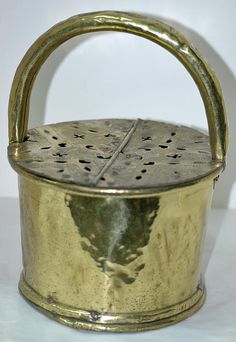 Antique AMERICAN BRASS FOOT Warmer or Foot Stove, 18th c. Very Rare with Hand Cut Pennsylvania American Brass Hex Signs, Free Shipping ! by hensnest10 on Etsy