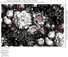 Dark Floral II Black Desaturated Wallpaper - by Ellie Cashman Design I hope that I can put a little really coolness in the hall laundry closet.