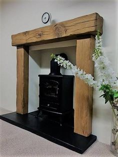 Oak Beam Fireplace, Stove Fireplace, Fireplace Surrounds, Fire Surround, Solid Oak, Floating Shelves, Beams, New Homes, Rustic