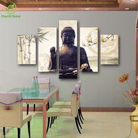 5 Piece Canvas Art Modern Printed Buddha Painting Picture Decoracion Buddha Paintings Wall Canvas Piictures For Living Room