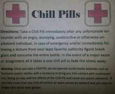 Novelty 16oz Container Chill Pills Gag Gift for Coworker or Student dealing with stress