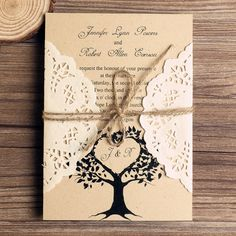 Love Tree Rustic Made-In-Italy Cardstock lace pocket wedding invitation suites EWLS019