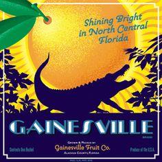 Gainesville Art by Jim Harrison - member of the Gator Nation! Vintage Labels, Vintage Ads, Vintage Posters, Vintage Florida, Old Florida, Orange Crate Labels, Vegetable Crates, Gainesville Florida, Florida Oranges
