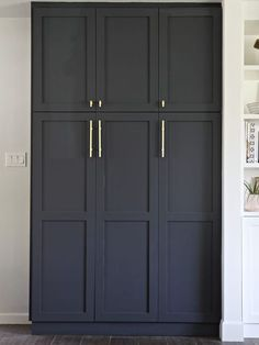 Built In Pantry with IKEA Sektion high kitchen cabinets and shaker doors from SemihandmadeKitchen Pantry Ideas That Will Improve Your Kitchen Renovation Ideas kitchen ikea cabinets paint colors for trying 45 Kitchen Remodel Ideas fo Kitchen Pantry Cabinets, Ikea Cabinets, Built In Cabinets, Kitchen Storage, Tall Cabinet Storage, Storage Room, Garage Storage, Maple Cabinets, Pantry Storage