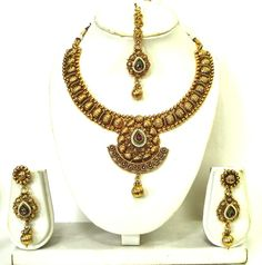 Indian Bollywood Oxidized Gold Embossed Work Red Ruby Kundan Pearl Necklace Set #vidhijewelss