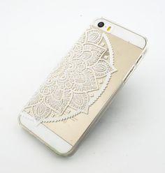 "Clear Plastic Case Cover for iPhone 6 (4.7"") Henna Lotus Mandala half hindu ganesh buddhist indian flower floral"