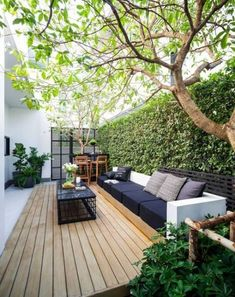 ideas for small backyard patio ideas decks yards Small Backyard Gardens, Small Backyard Landscaping, Backyard Garden Design, Small Garden Design, Small Patio, Modern Backyard, Landscaping Ideas, Narrow Backyard Ideas, Small Decks