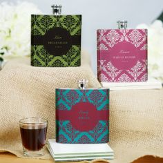 Personalized Damask Bridal Party Stainless Steel Flask - 15 Colors!