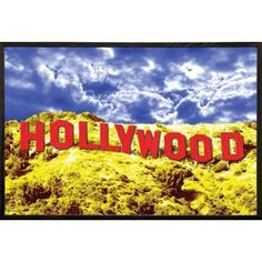 USA Hollywood Sign Red 36-inch x 24-inch Poster with Walnut Architect Wood Frame