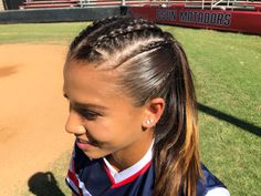 Softball Hairstyle braids If you're trying to find hairstyles that will Track Hairstyles, Athletic Hairstyles, Braided Bun Hairstyles, Braided Hairstyles, Braided Buns, Messy Buns, Updo Hairstyle, Cute Sporty Hairstyles, Cheer Hairstyles