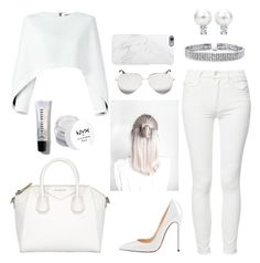 """""""One Color: Head To Toe"""" by shababy0403 on Polyvore featuring Balmain, Mother, Givenchy, NYX, Bobbi Brown Cosmetics, Victoria Beckham, Native Union and Bling Jewelry"""