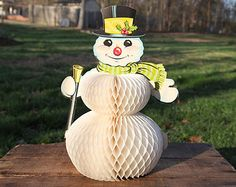 Vintage Pop-Up Snowman, Christmas, Decoration, Top Hat, Broom, Holly, Scarf