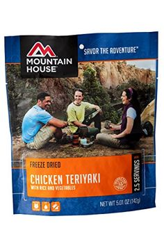Mountain House, Chicken Teriyaki with Rice Mountain House http://www.amazon.com/dp/B0002YRJ62/ref=cm_sw_r_pi_dp_fN1uxb18VRMVJ