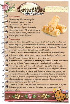 Receta de http://www.recetasdemama.es/2010/02/canutillos-de-hojaldre-rellenos-crema/ COMO HACER CANUTILLOS RELLENOS DE CREMA PASTELE...