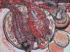 Robert Patierno - Red Snapper, Reduction Linocut
