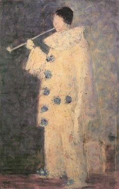 Pierrot with a White Pipe by George Seurat  When I was young I love Pierot clowns and I remember my father buying me tons of them.