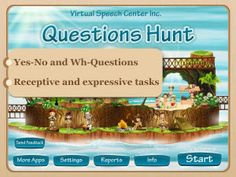 The Questions Hunt app was developed by a certified speech and language pathologist for children to practice answering yes/no questions and WH questions (what, where, who, when, why and how).
