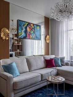 Using accent pillows in multiple hues in the modern living room gives it a brighter vibe Living Room Grey, Living Room Decor, Living Spaces Rugs, New Home Designs, Modern Spaces, Trends, Accent Pillows, Cool Furniture, House Design