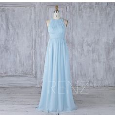 2017 Light Blue Bridesmaid Dress Scoop Neck Wedding Dress