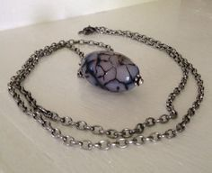 Large Faceted Oval Purple and Black Dragon Veins by GildedBug, $24.00
