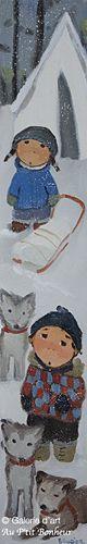 Guylène Saucier, 'Une tente et trois chiens', 6'' x 36'' | Galerie d'art - Au P'tit Bonheur - Art Gallery