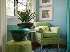 HGTV Dream Home 2013: Twin Suite Bedroom Pictures : A cozy club chair and ottoman carve out the room's reading nook, where two batik prints by artist Chariklia Zarris draw the eye.