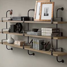 French Factory Shelving from Restoration Hardware. Shop more products from Restoration Hardware on Wanelo. Wall Mounted Bookshelves, Wood Wall Shelf, Wood Shelves, Cheap Shelves, Rustic Bookshelf, Bookcase Wall, Floating Shelves, Restoration Hardware, Office Restoration