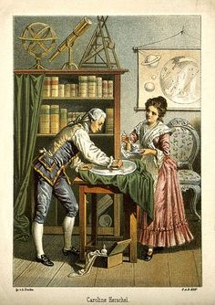 William and Caroline Herschel polishing a telescope lens (probably a mirror), 1896 Lithograph.