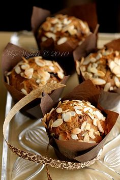 Almond Muffins with figs~A delicious combination. Perfect, lumpy, slightly springy and moist texture. Sweet and nutritious interior. Figs can be replaced with any dried fruit, in my example will fit perfectly plum.