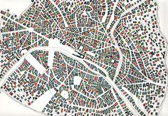 """geo-graphique: """" Paris drawing watercolor on paper - Fabrice Clapies """" Urban Mapping, Paris Drawing, Map Diagram, Paris Map, Plans, Art And Architecture, Geography, Texture, Drawings"""