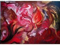 "Acrylbild Acryl Bild Gemälde ""LE VOLCAN"" - 50 x 70 x 2 cm"