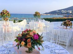 Greece, Wedding Flowers, Table Decorations, Weddings, Furniture, Color, Home Decor, Greece Country, Decoration Home