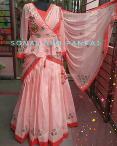 For the very first time Sonal and Pankaj presenting gotta patti lehenga with peplum jacket blouse and heavy gotta patti duptta..in  peach and  coralColor customization available Whatsapp +919669166763  22 February 2018