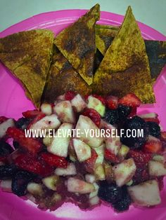 21 Day Fix Approved Pita Chips and Fruit Salsa - eleVATe yourSELF  Are you looking for a delicious 21 Day Fix Approved snack? This snack is easy to prepare and tastes delicious.