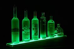 LED Bottle Shelf - Get Organized for Your Bar! Custom LED bottle Shelves Length from 1 ft to 8 ft. Order Shelves and displays with remote controls from Armana Productions. Bar Shelves, Glass Shelves, Display Shelves, Liquor Shelves, Shelving Ideas, Liquor Cabinet, Pos Display, Shelving Units, Medicine Cabinet