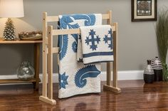 Modern style quilt stands available in 4 different wood species and 11 different colors and finishes.