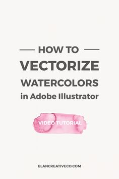 In this tutorial, I want to show you how to vectorize watercolors in Illustrator. This will help you scale your watercolors and you will have an easier time creating watercolor patterns or using watercolors in your Adobe Illustrator projects. Web Design, Graphic Design Tools, Logo Design, Graphic Design Tutorials, Graphic Design Inspiration, Typography Design, How To Design, Vector Design, Design Elements