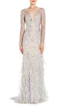Embellished Long-Sleeve Illusion Evening Gown w/ Feather Skirt by Monique Lhuillier at Bergdorf Goodman. Monique Lhuillier, Bergdorf Goodman, Evening Dresses, Formal Dresses, Wedding Dresses, Long Dresses, Prom Dresses, Neiman Marcus, Feather Skirt