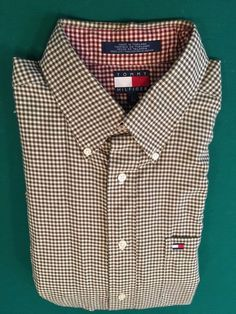 Vintage 1990s Men's TOMMY HILFIGER Checkered Buttoned Long Sleeve Shirt Size L #TommyHilfiger #ButtonFront