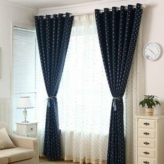 Thick polyester and cotton blend fabric has good blackout feature suit for kids room, has silver polka dot pattern matching with navy base color. Polka Dot Curtains, Cool Lighting, Navy Curtains Living Room, Shabby Chic Curtains, Curtains, Navy Curtains, Retractable Shade, Nursery Curtains Boy, Boys Curtains