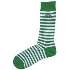 Green / White Stripe Socks by Lacoste Groomsmen Ties, Striped Socks, Lacoste Men, Men Online, Green Stripes, Underwear, Bags, Stuff To Buy, Shopping