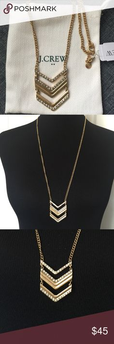 Antique Gold Chevron Necklace with Rhinestones Chevron necklace in antique gold from J. Crew.    3 rows of rhinestone detail. Hangs long. Brand new with tags, excellent condition. Comes with dust bag. Smoke/pet free home. J. Crew Jewelry Necklaces