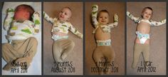 Watch me grow! Pictures every 4 months in the outfit he wore home from the hospital.