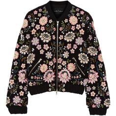Needle & Thread Embellished chiffon bomber jacket (4.430 ARS) ❤ liked on Polyvore featuring outerwear, jackets, coats & jackets, tops, lightweight zip jacket, light weight jacket, multi color jacket, zip jacket and sequin jacket