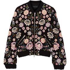 Needle & Thread Embellished chiffon bomber jacket ($340) ❤ liked on Polyvore featuring outerwear, jackets, coats & jackets, black, lightweight zip jacket, bomber style jacket, beaded jacket, sequin jacket and flight jacket