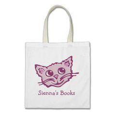 For cat lovers that Love books. Cat kitten pink hued library book bag. Art and design by www.sarahtrett.com