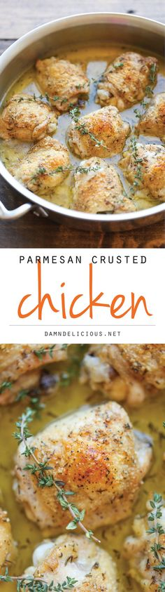 ... tender chicken with the most amazing Parmesan crust and a lemony-herb